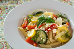 fresh penne summer vegetable pasta