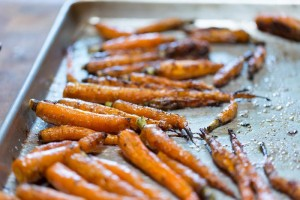 Baked carrots on a tray