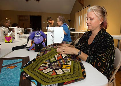 Women on a quilting retreat in Kansas