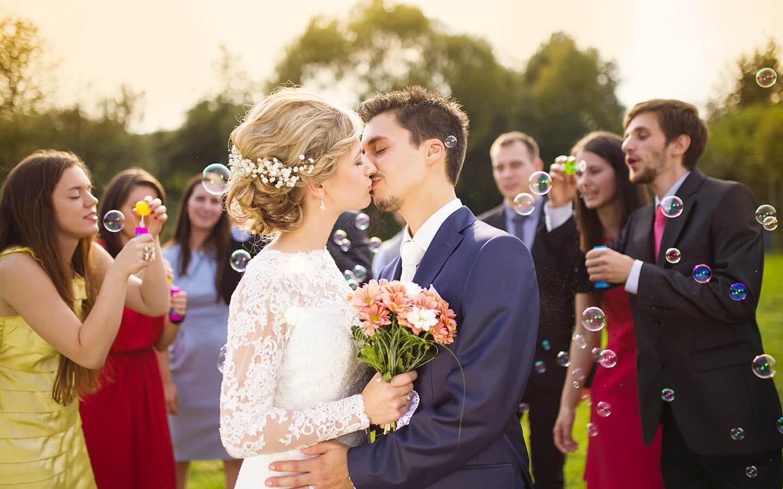 Bride and Groom Kissing at a Kansas Wedding