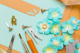 Scrapbook tools and flowers
