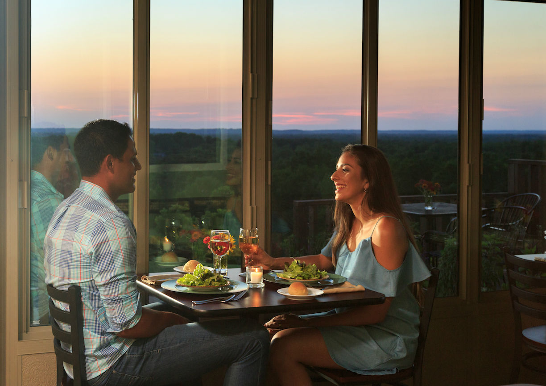 Romantic couple enjoying a dinner date