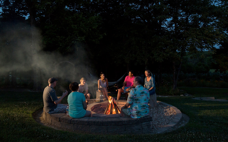 Group Around Fire Pit in Kansas