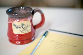 Cedar Crest Stoneware Mug and Yellow Pad