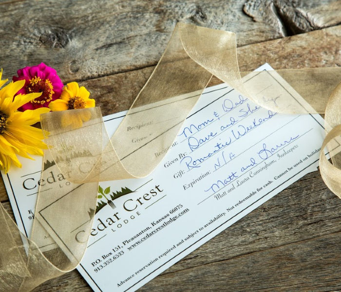 Gift Certificates for Cedar Crest Lodge